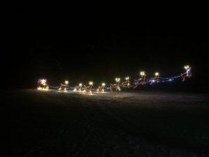 christmas santa with reindeer led lighted motif
