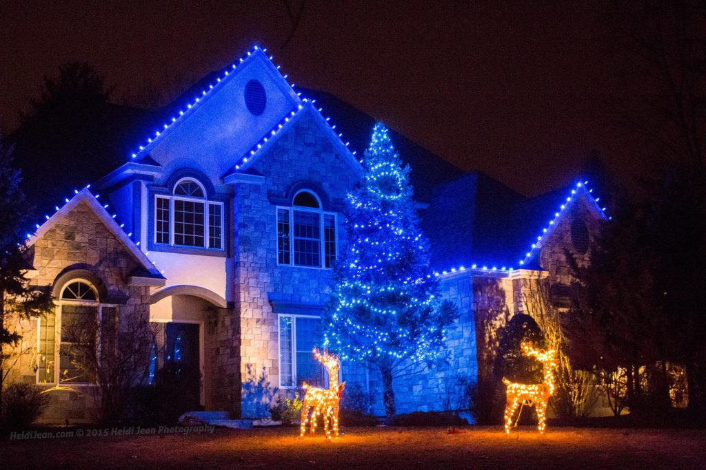 Residential with Blue LED C9 lights. anemptytextlline. Interior Christmas Tree Decorating