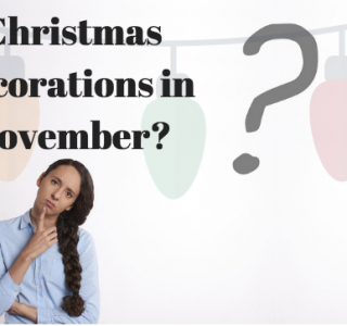 Christmas decoratins in november picture with a woman asking the question thinking about the answer